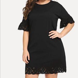 Black Laser Cut Fluted Sleeve Dress